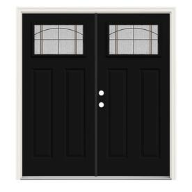 Jeld Wen Craftsman Decorative Gl Right Hand Inswing Peppercorn Painted Steel Prehung Double Entry