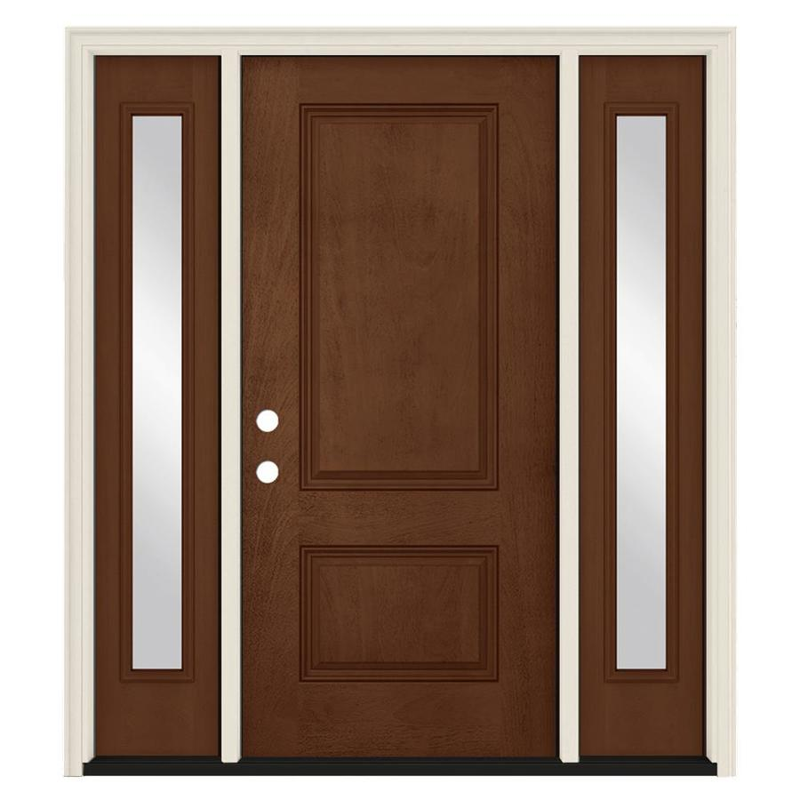 Attirant JELD WEN Right Hand Inswing Milk Chocolate Painted Fiberglass Prehung Entry  Door With Sidelights