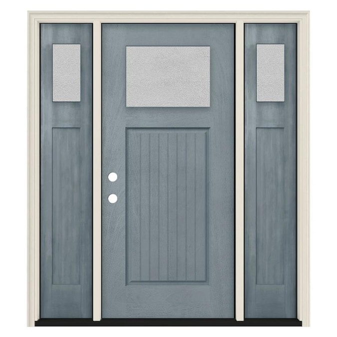 Jeld Wen 60 In X 80 In Fiberglass Craftsman Right Hand Inswing Stone Stained Prehung Single Front Door Brickmould Included In The Front Doors Department At Lowes Com A new alternative to conventional wood, fiberglass exterior doors provides the same style and sophistication for a fraction of the price. jeld wen