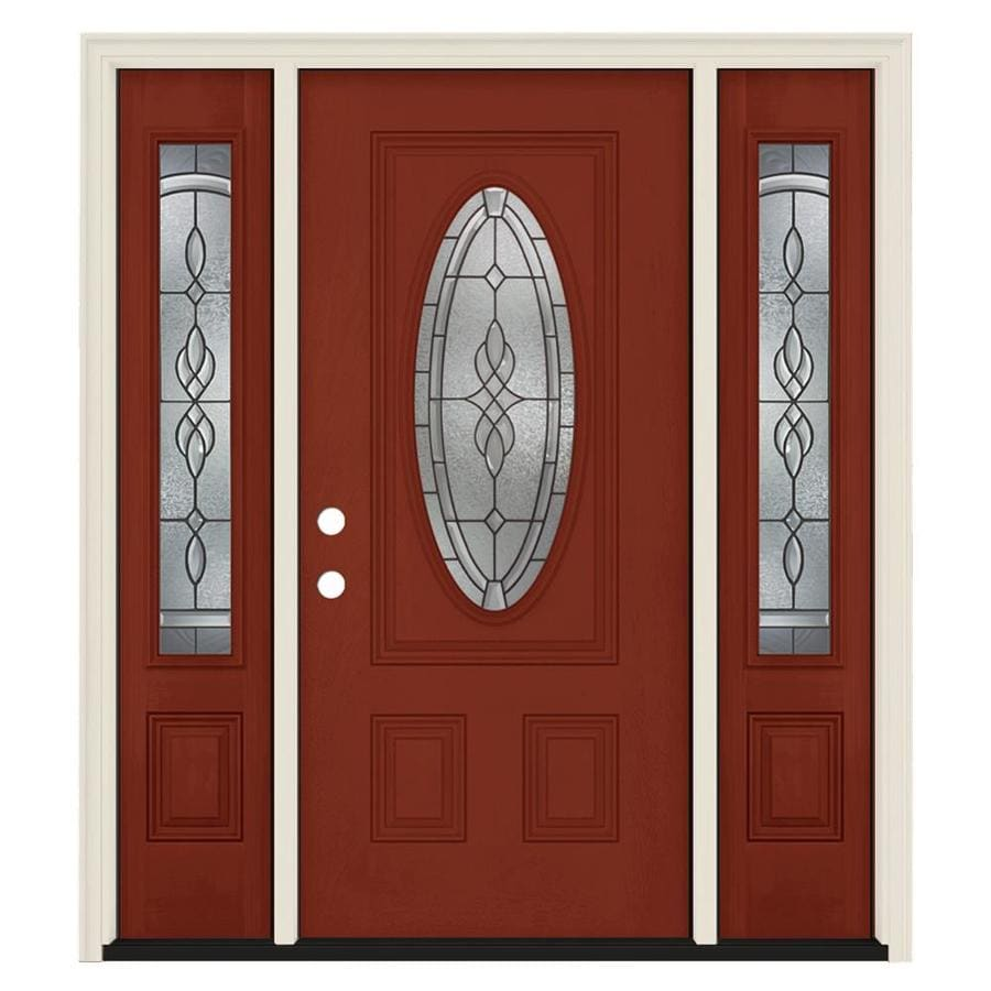 Jeld wen hampton oval lite decorative glass right hand - Jeld wen exterior doors with sidelights ...