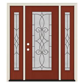 JELD WEN Decorative Glass Black Cherry Fiberglass Mahogany Stained Entry  Door (Common: 60.0