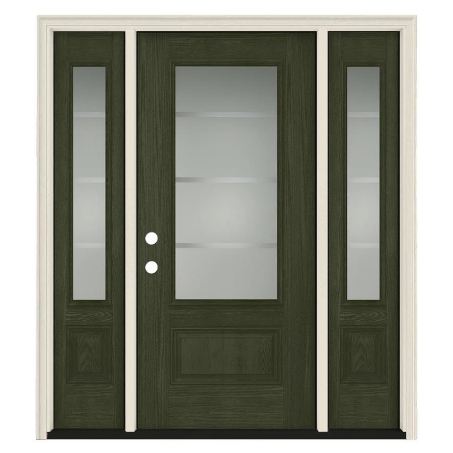 Jeld wen crosslines 3 4 lite decorative glass right hand - Jeld wen exterior doors with sidelights ...