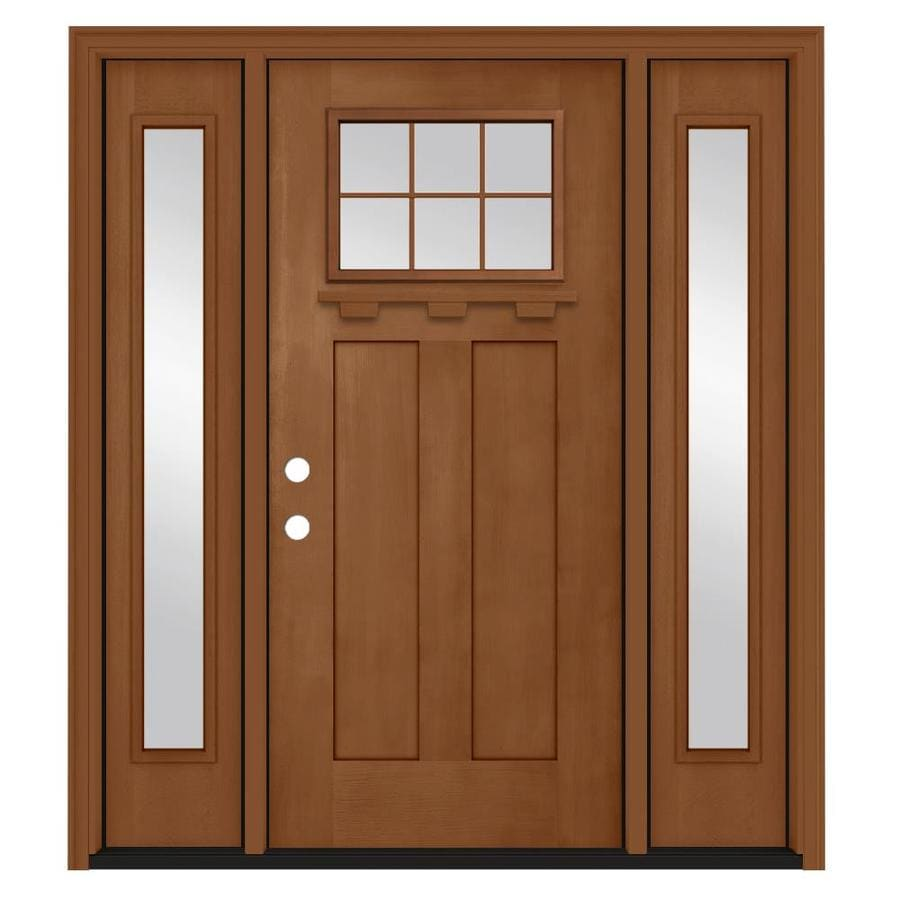 Jeld Wen Craftsman Simulated Divided Light Right Hand Inswing Hazelnut Stained Fibergl Prehung Entry