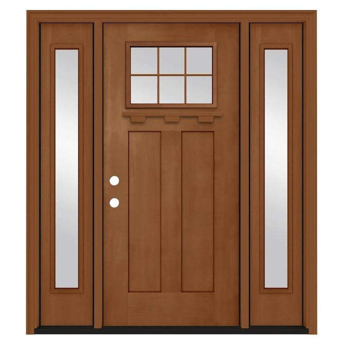Jeld Wen 64 In X 80 In Fiberglass Craftsman Right Hand Inswing Hazelnut Stained Prehung Single Front Door With Sidelights With Brickmould In The Front Doors Department At Lowes Com