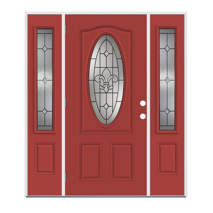 Jeld wen nola oval lite decorative glass right hand - Jeld wen exterior doors with sidelights ...