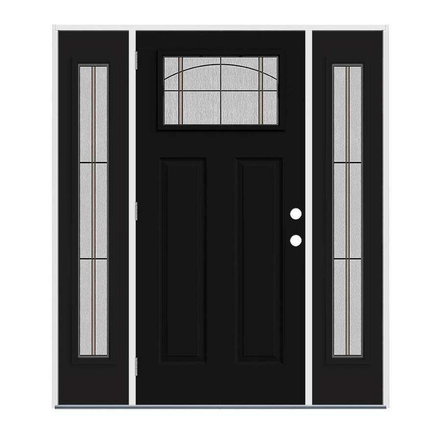 Jeld wen craftsman decorative glass right hand outswing - Jeld wen exterior doors with sidelights ...