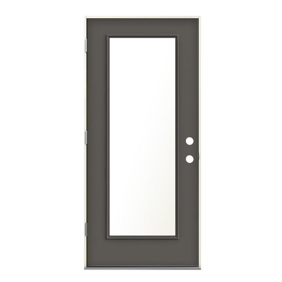 Shop Jeld Wen Blanca Privacy Glass Timber Gray Steel Painted Entry