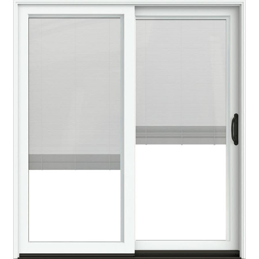 Jeld Wen 72 In X 80 In Blinds Between The Glass Brilliant White Clad Wood Right Hand Double Door Sliding Patio Door In The Patio Doors Department At Lowes Com