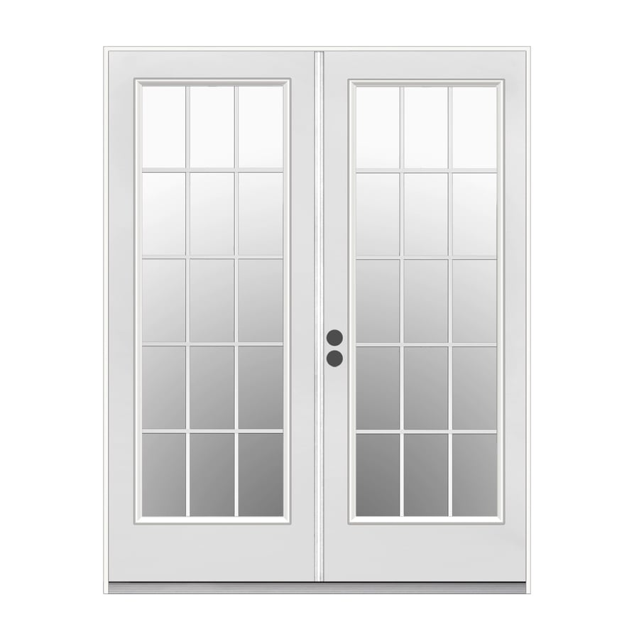 ReliaBilt 71.5-in 15-Lite Glass Primed Steel French Inswing Patio Door