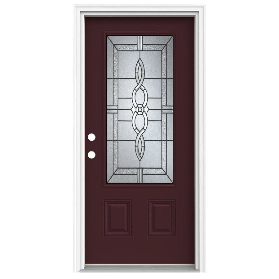 ReliaBilt Calista 1-Panel Insulating Core 3/4 Lite Right-Hand Inswing Currant Fiberglass Painted Prehung Entry Door (Common: 36.0000-in x 80.0000-in; Actual: 37.5000-in x 81.7500-in)