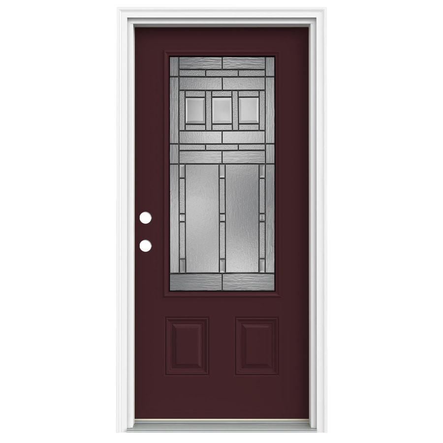 Shop reliabilt craftsman decorative glass right hand inswing currant fiberglass painted entry for Reliabilt decorative glass interior doors