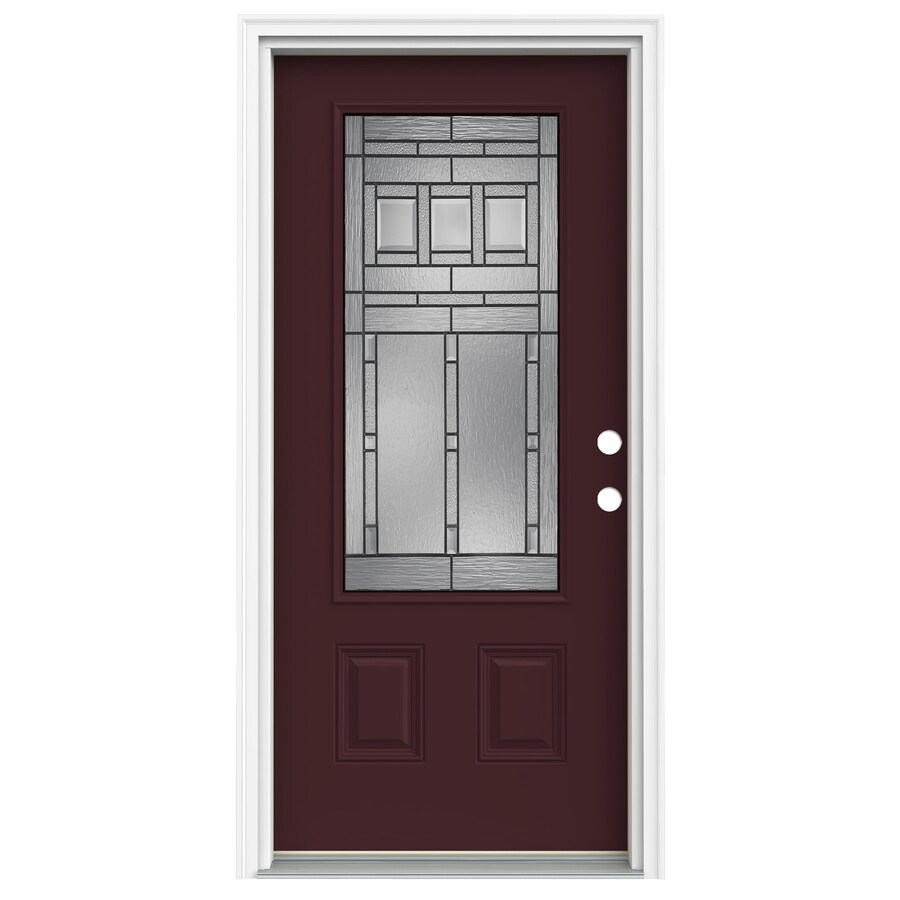 ReliaBilt Craftsman Decorative Glass Left-Hand Inswing Currant Fiberglass Painted Entry Door (Common: 36-in x 80-in; Actual: 37.5-in x 81.75-in)