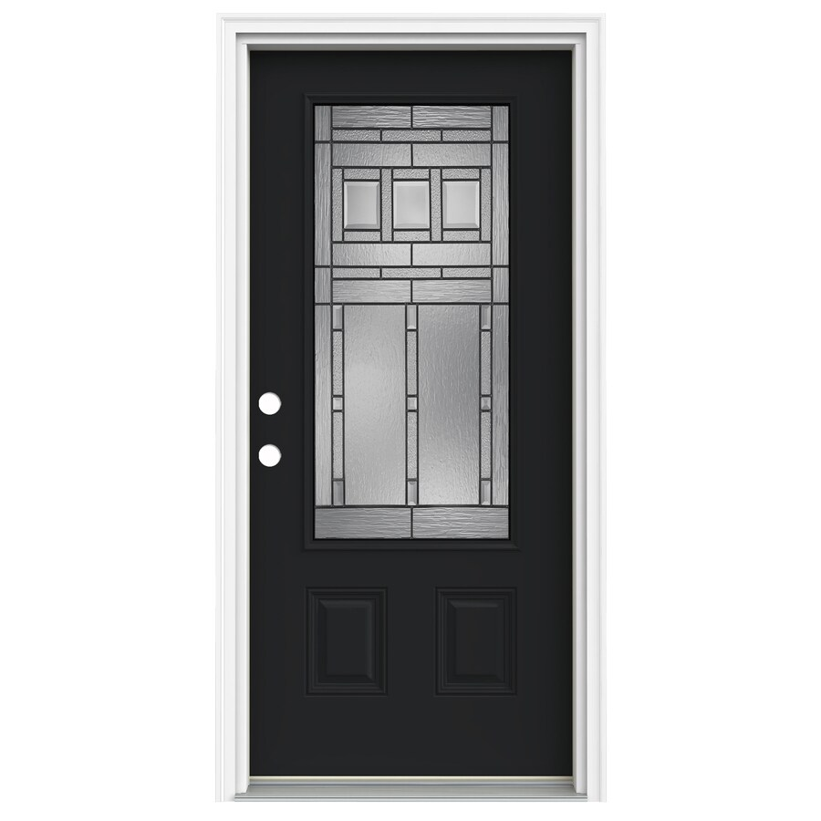 ReliaBilt Craftsman Glass 1-Panel Insulating Core 3/4 Lite Right-Hand Inswing Peppercorn Fiberglass Painted Prehung Entry Door (Common: 36.0000-in x 80.0000-in; Actual: 37.5000-in x 81.7500-in)