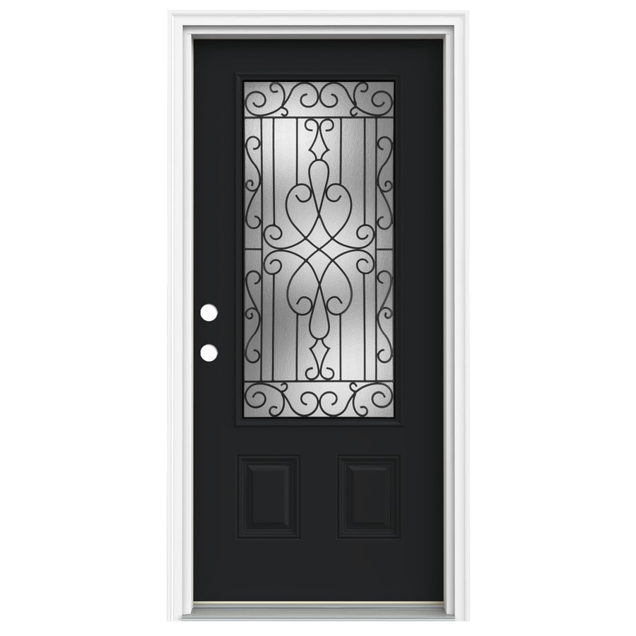 ReliaBilt Wyngate 1-Panel Insulating Core 3/4 Lite Right-Hand Inswing Peppercorn Fiberglass Painted Prehung Entry Door (Common: 36-in x 80-in; Actual: 37.5-in x 81.75-in)