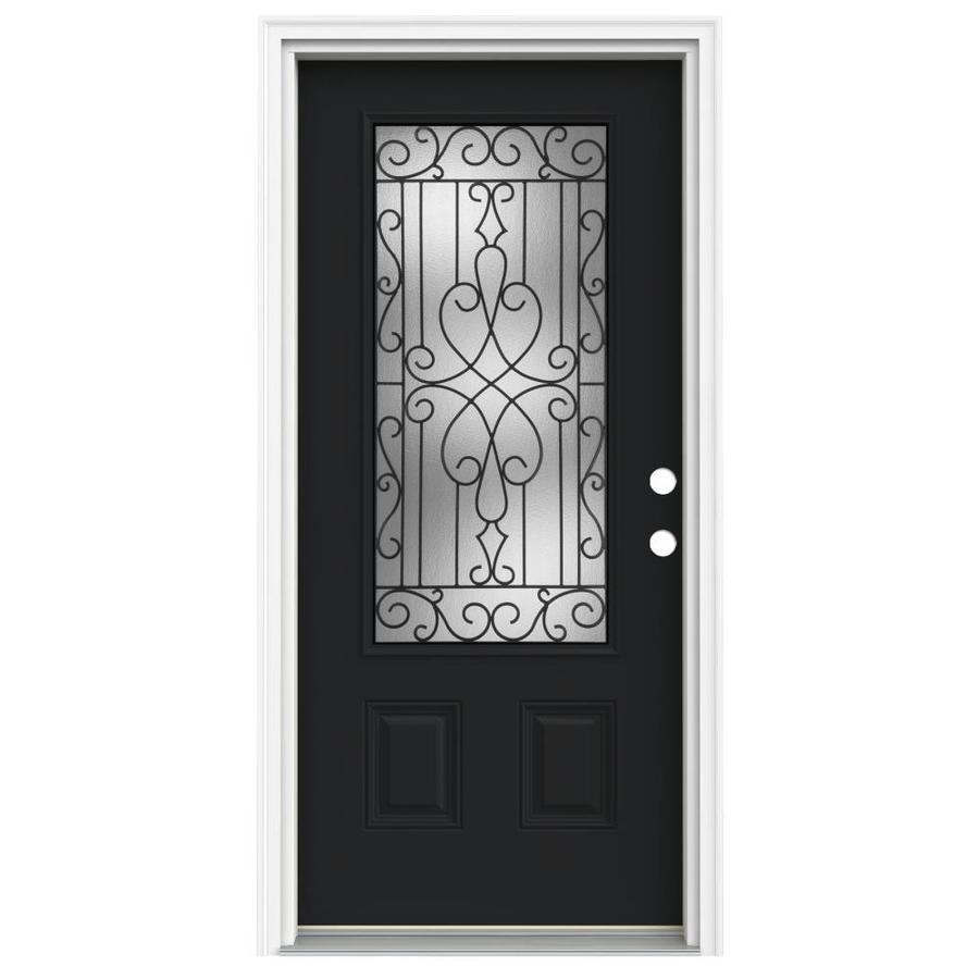 ReliaBilt Wyngate 1-Panel Insulating Core 3/4 Lite Left-Hand Inswing Peppercorn Fiberglass Painted Prehung Entry Door (Common: 36.0000-in x 80.0000-in; Actual: 37.5000-in x 81.7500-in)