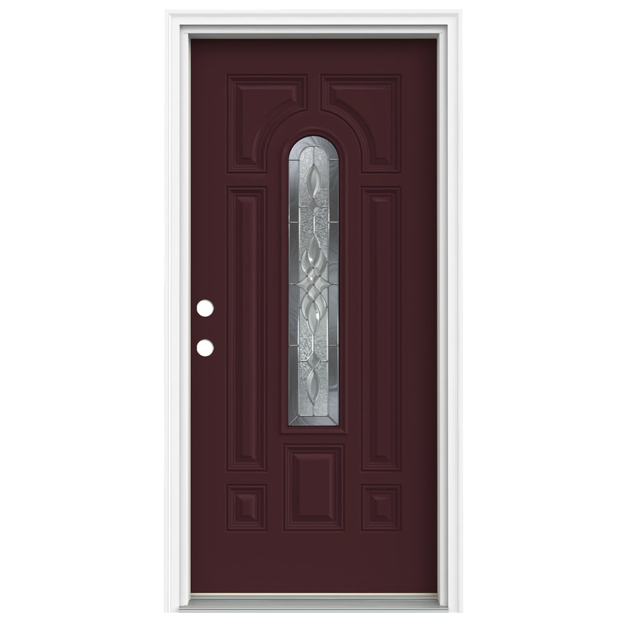 ReliaBilt Hampton 2-Panel Insulating Core Center Arch Lite Right-Hand Inswing Currant Fiberglass Painted Prehung Entry Door (Common: 36-in x 80-in; Actual: 37.5-in x 81.75-in)