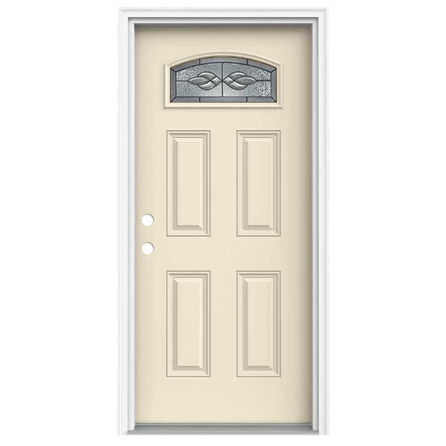 ReliaBilt Hampton 4-Panel Insulating Core Morelight Right-Hand Inswing Bisque Fiberglass Painted Prehung Entry Door (Common: 32-in x 80-in; Actual: 33.5-in x 81.75-in)