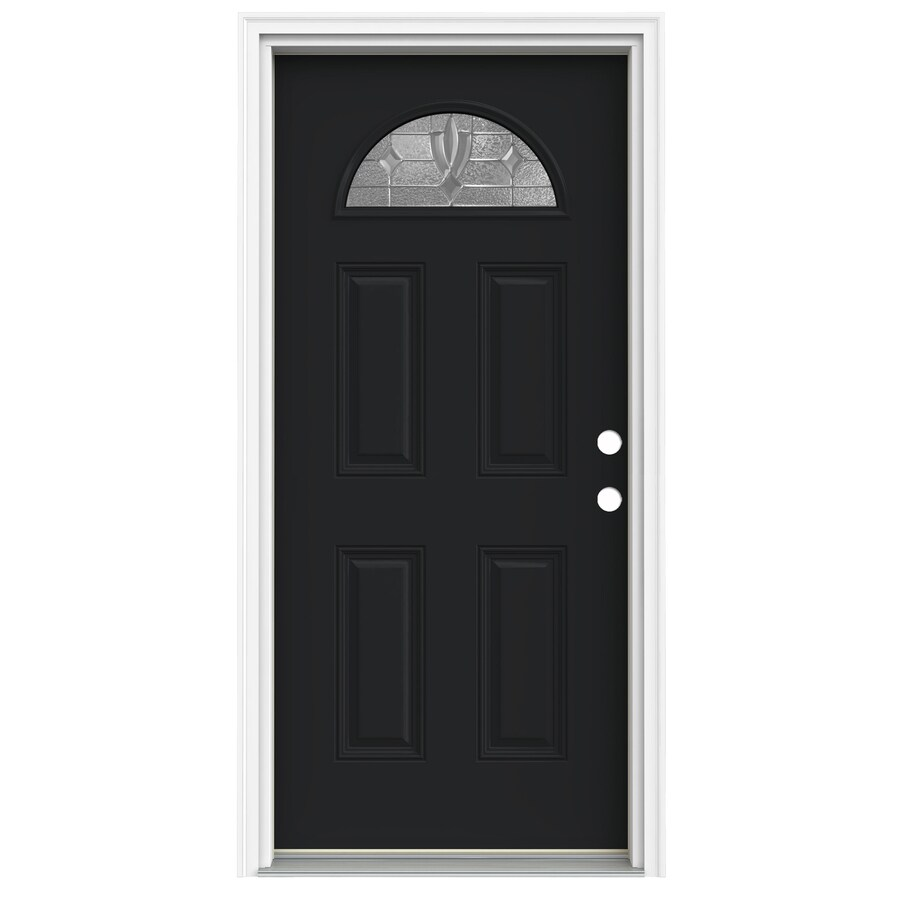 ReliaBilt Laurel 4-Panel Insulating Core Fan Lite Left-Hand Inswing Peppercorn Fiberglass Painted Prehung Entry Door (Common: 32-in x 80-in; Actual: 33.5-in x 81.75-in)