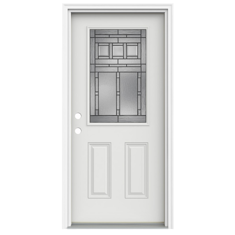 ReliaBilt Craftsman Glass 2-Panel Insulating Core Half Lite Right-Hand Inswing Arctic White Fiberglass Painted Prehung Entry Door (Common: 32-in x 80-in; Actual: 33.5-in x 81.75-in)