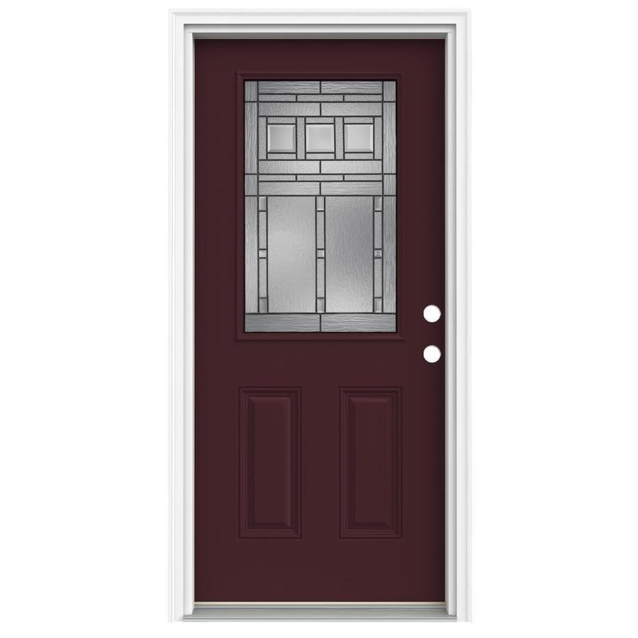 ReliaBilt Craftsman Glass 2-Panel Insulating Core Half Lite Left-Hand Inswing Currant Fiberglass Painted Prehung Entry Door (Common: 32-in x 80-in; Actual: 33.5-in x 81.75-in)