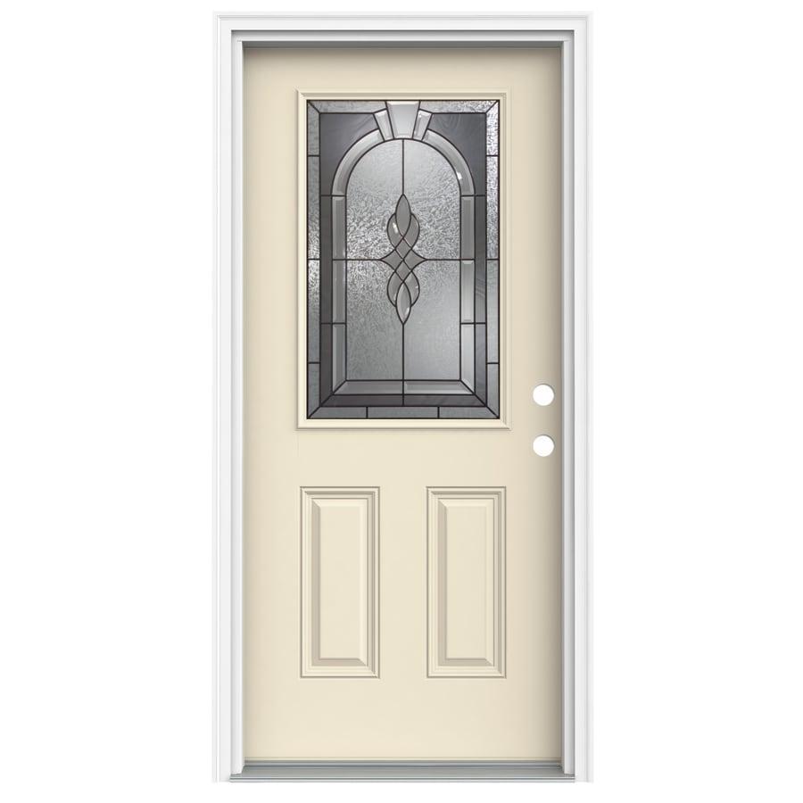 ReliaBilt Hampton 2-Panel Insulating Core Half Lite Left-Hand Inswing Bisque Fiberglass Painted Prehung Entry Door (Common: 32.0000-in x 80.0000-in; Actual: 33.5000-in x 81.7500-in)