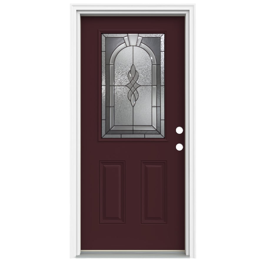 ReliaBilt Hampton Decorative Glass Left-Hand Inswing Currant Fiberglass Painted Entry Door (Common: 32-in x 80-in; Actual: 33.5000-in x 81.7500-in)