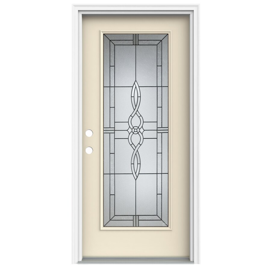 Wonderful ReliaBilt Calista Decorative Glass Right Hand Inswing Bisque Fiberglass  Painted Entry Door (Common: