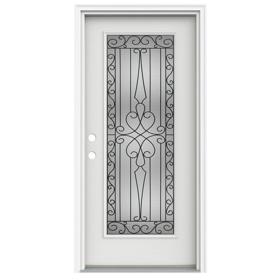 ReliaBilt Wyngate Decorative Glass Right-Hand Inswing Arctic White Fiberglass Painted Entry Door (Common: 32-in x 80-in; Actual: 33.5000-in x 81.7500-in)