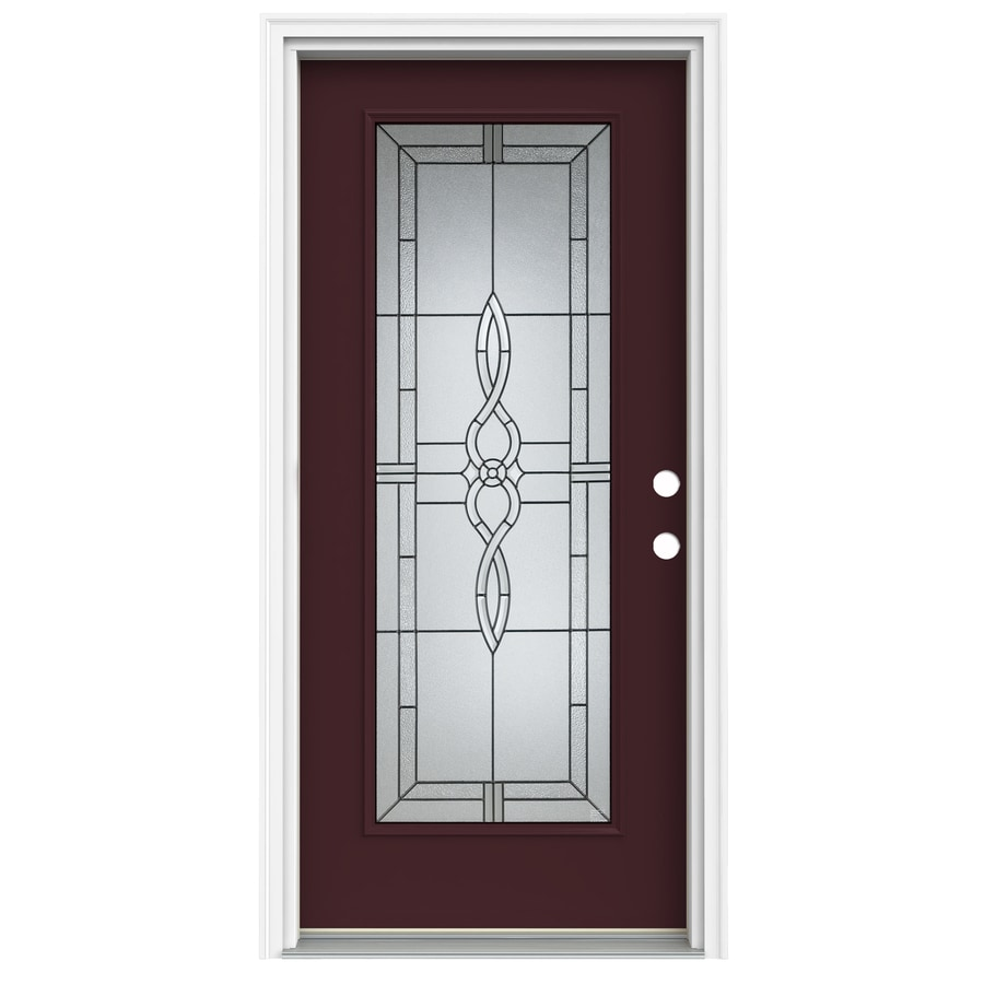ReliaBilt Calista Decorative Glass Left-Hand Inswing Currant Fiberglass Painted Entry Door (Common: 36-in x 80-in; Actual: 37.5000-in x 81.7500-in)