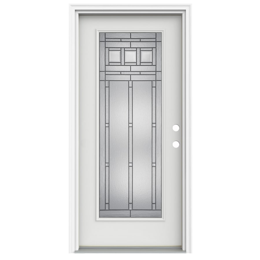 ReliaBilt Craftsman Decorative Glass Left-Hand Inswing Arctic White Fiberglass Painted Entry Door (Common: 36-in x 80-in; Actual: 37.5000-in x 81.7500-in)