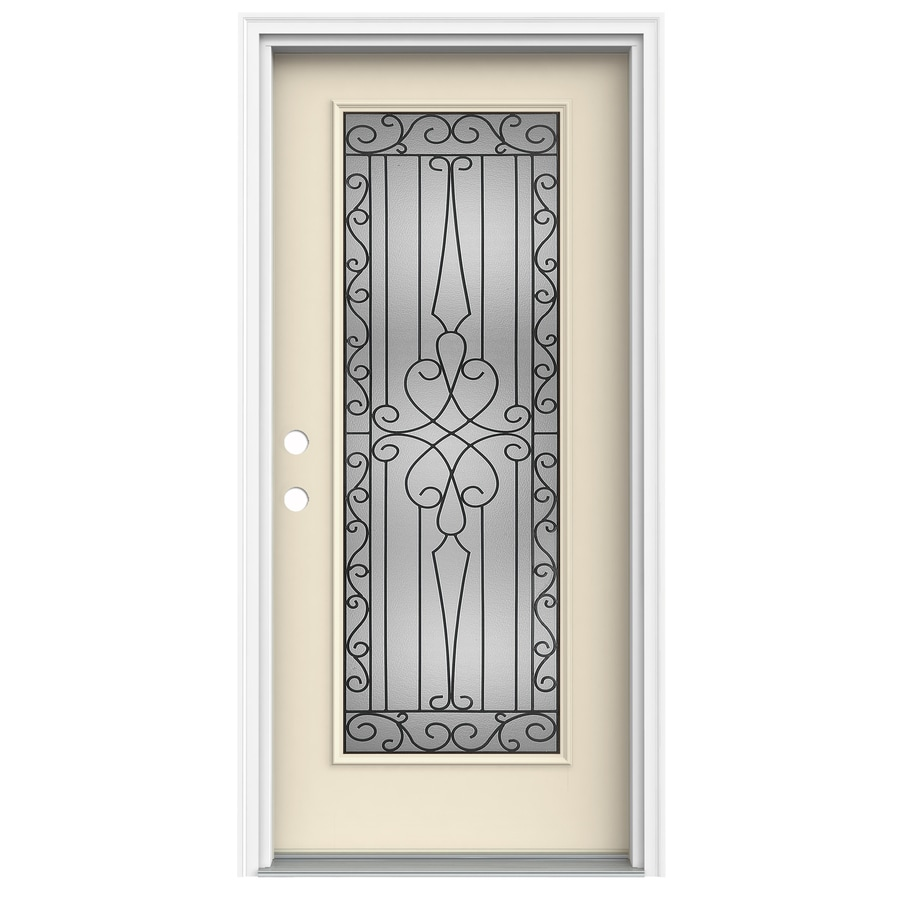 ReliaBilt Wyngate 1-Panel Insulating Core Full Lite Right-Hand Inswing Bisque Fiberglass Painted Prehung Entry Door (Common: 36-in x 80-in; Actual: 37.5-in x 81.75-in)