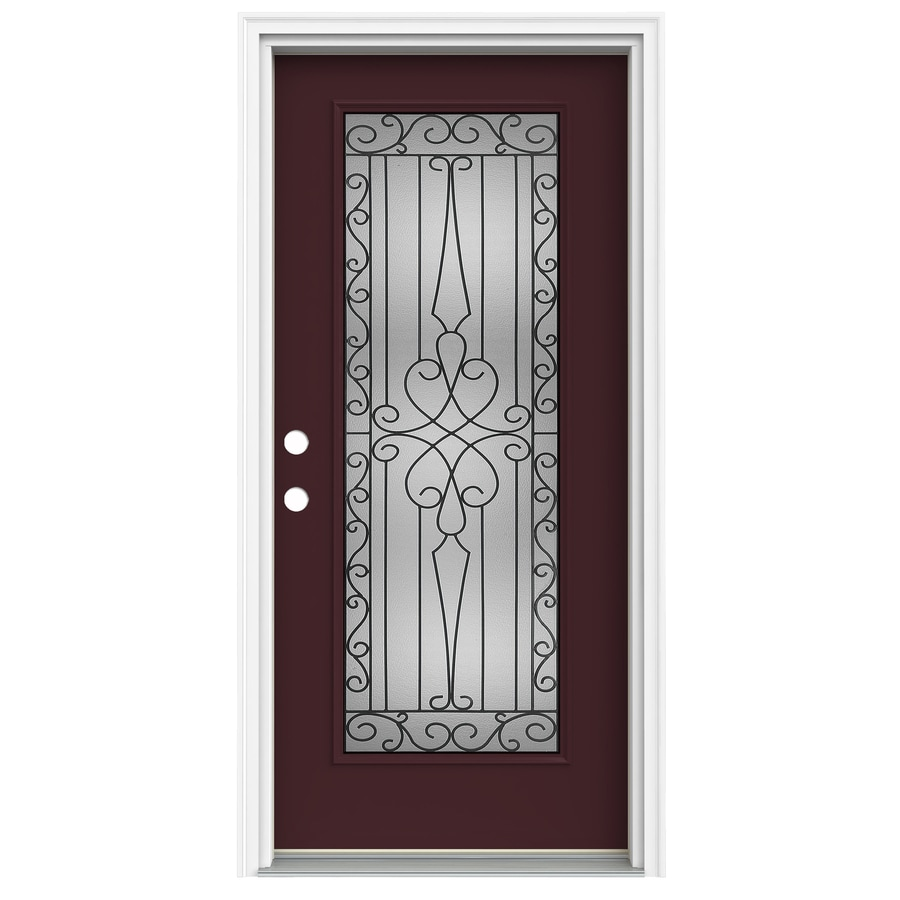 ReliaBilt Wyngate 1-Panel Insulating Core Full Lite Right-Hand Inswing Currant Fiberglass Painted Prehung Entry Door (Common: 36.0000-in x 80.0000-in; Actual: 37.5000-in x 81.7500-in)
