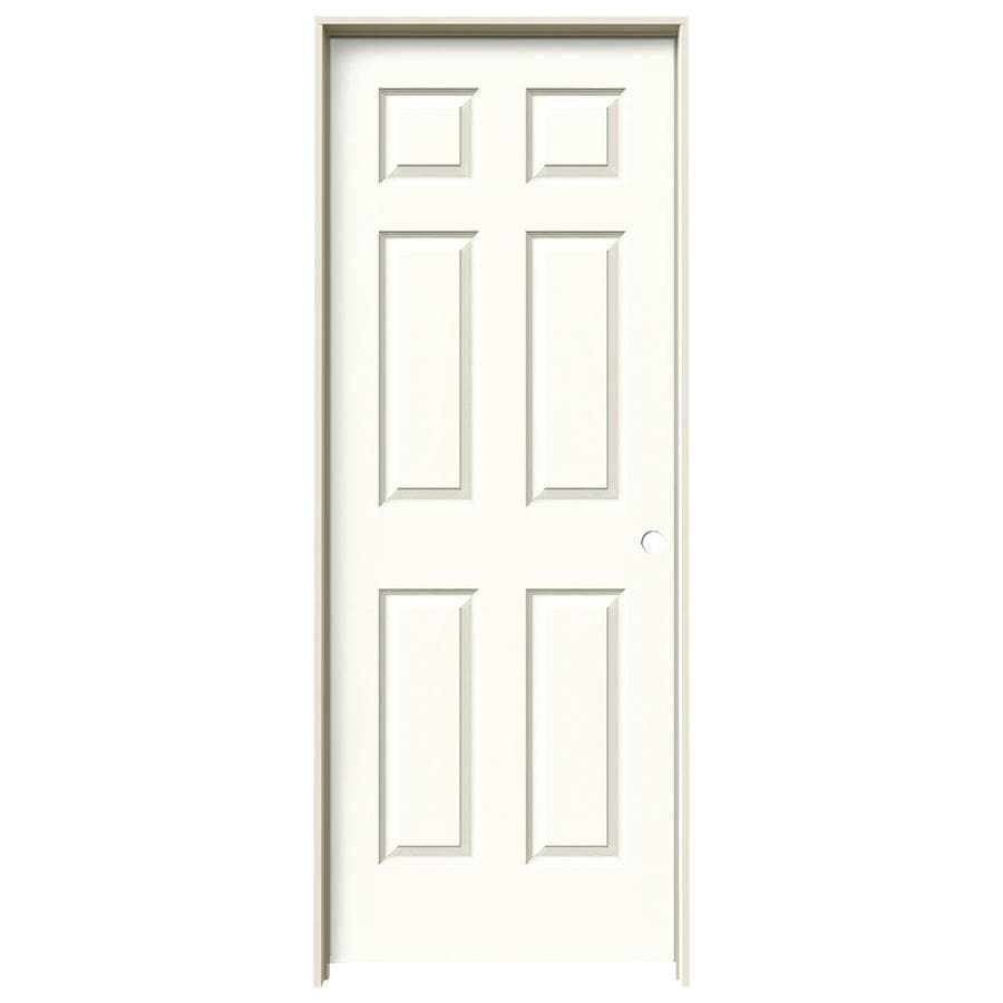 JELD-WEN White Prehung Solid Core 6-Panel Interior Door (Actual: 81.688-in x 25.562-in)
