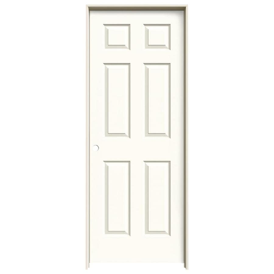 JELD-WEN White Prehung Solid Core 6-Panel Interior Door (Actual: 81.688-in x 29.562-in)