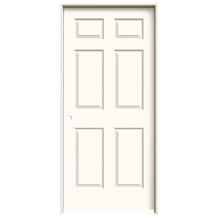 JELD-WEN White Prehung Solid Core 6-Panel Interior Door (Actual: 81.688-in x 37.562-in)