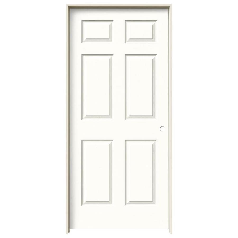 JELD-WEN Colonist Snow Storm 6-panel Single Prehung Interior Door (Common: 36-in x 80-in; Actual: 81.688-in x 37.562-in)