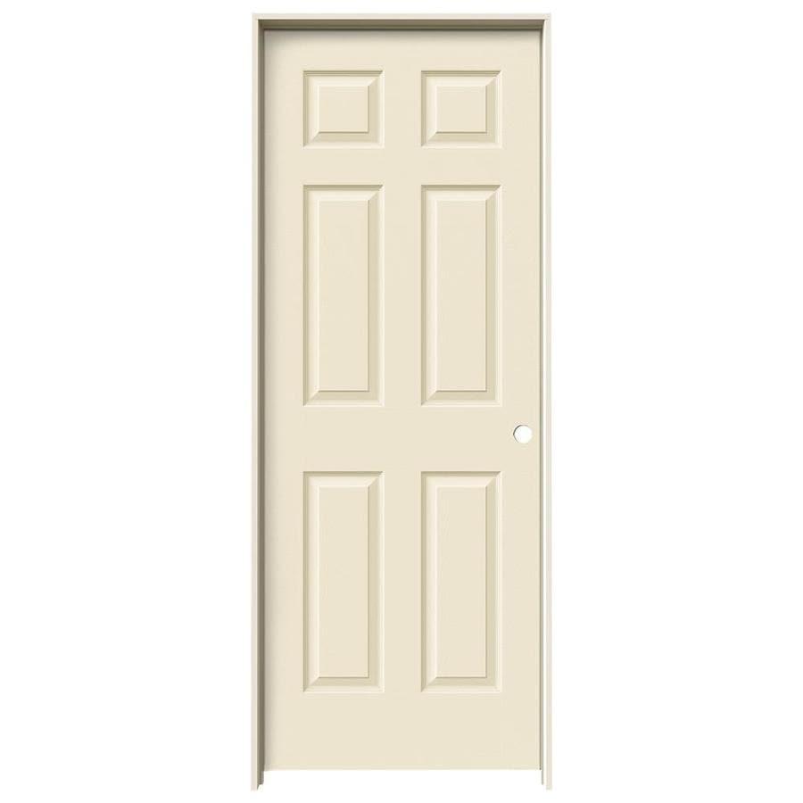 JELD-WEN Cream-N-Sugar Prehung Solid Core 6-Panel Interior Door (Actual: 81.688-in x 29.562-in)