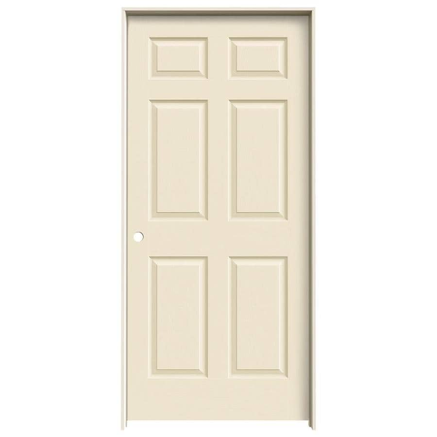 JELD-WEN Cream-N-Sugar Prehung Solid Core 6-Panel Interior Door (Actual: 81.688-in x 37.562-in)