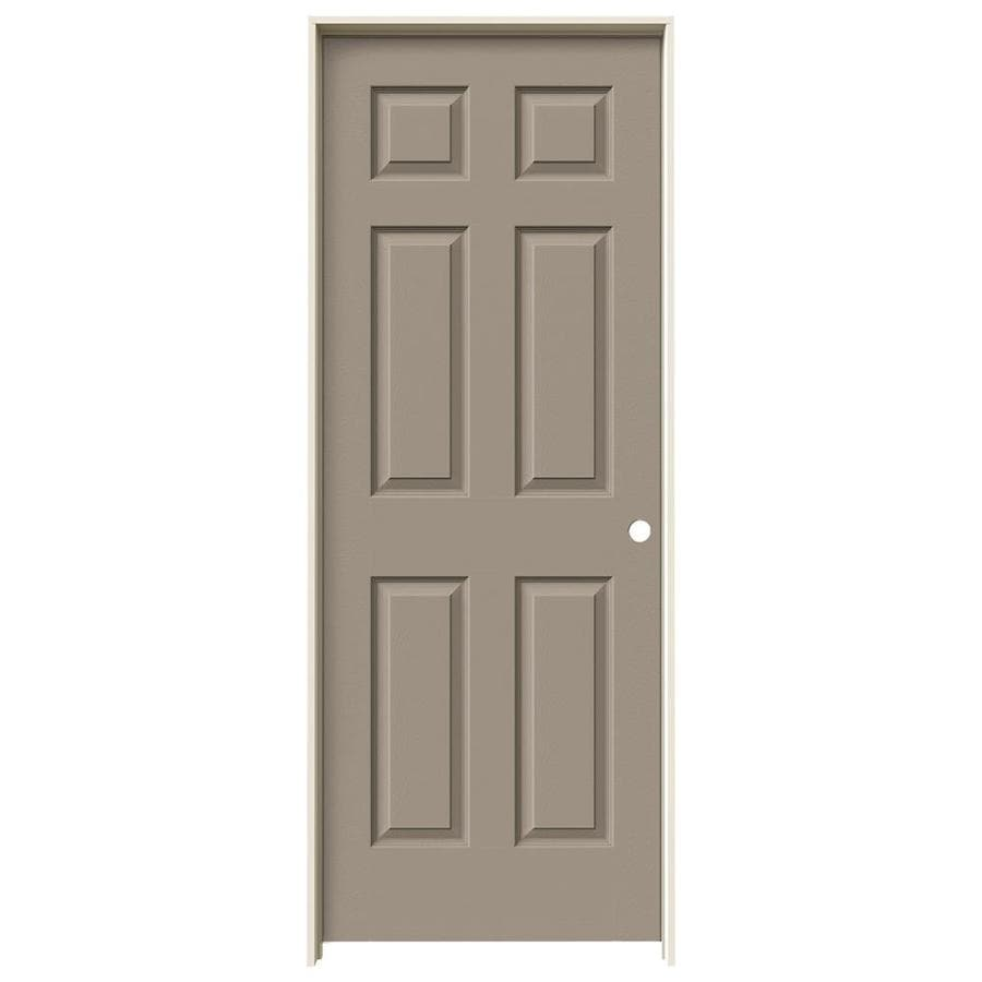 JELD-WEN Sand Piper Prehung Solid Core 6-Panel Interior Door (Actual: 81.688-in x 29.562-in)