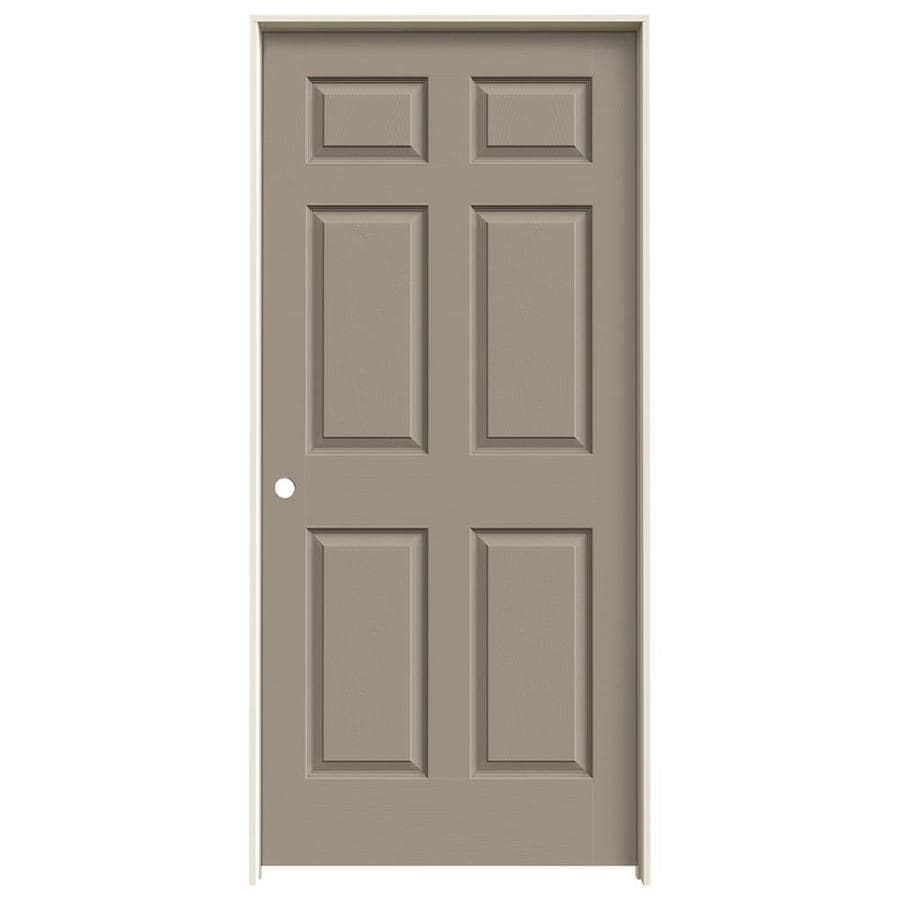 JELD-WEN Sand Piper Prehung Solid Core 6-Panel Interior Door (Actual: 81.688-in x 37.562-in)