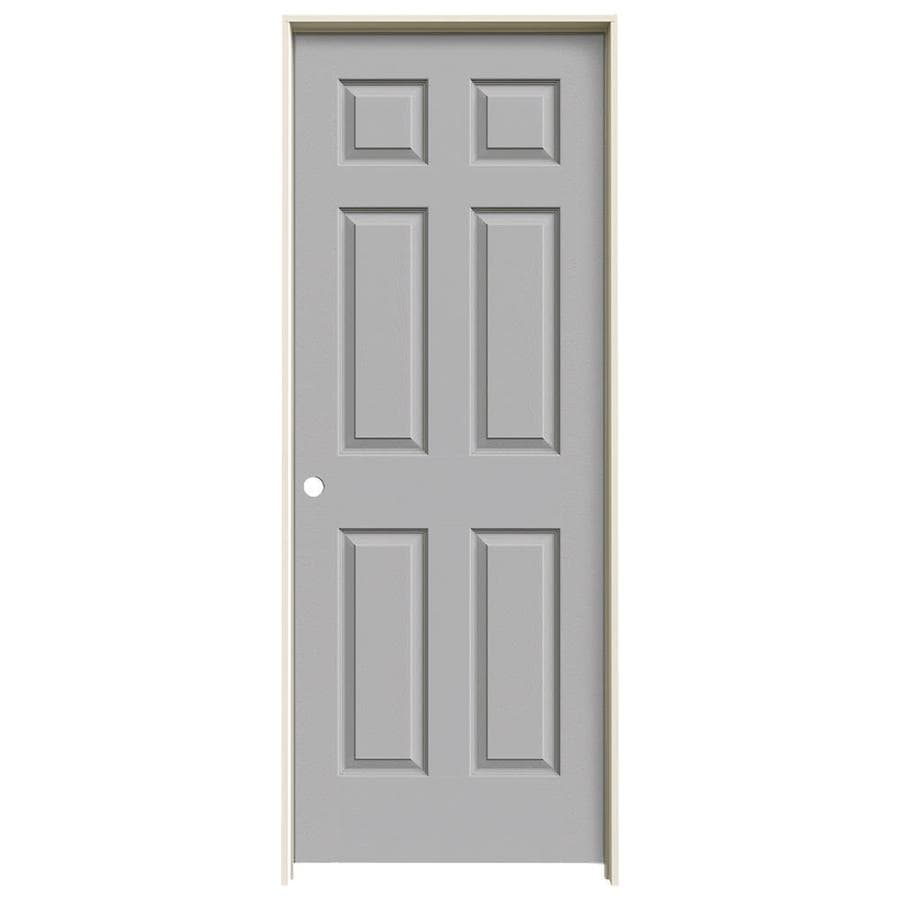 JELD-WEN Driftwood Prehung Solid Core 6-Panel Interior Door (Actual: 81.688-in x 31.562-in)