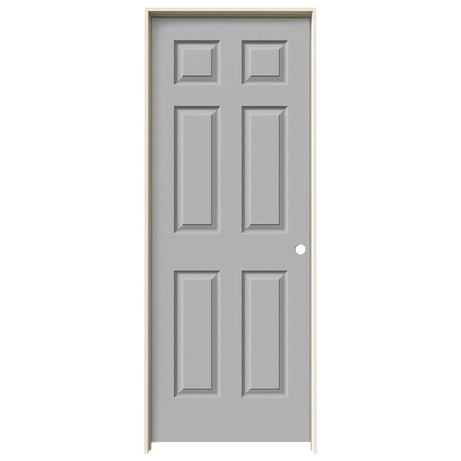 JELD-WEN Driftwood Prehung Solid Core 6-Panel Interior Door (Actual: 81.688-in x 33.562-in)