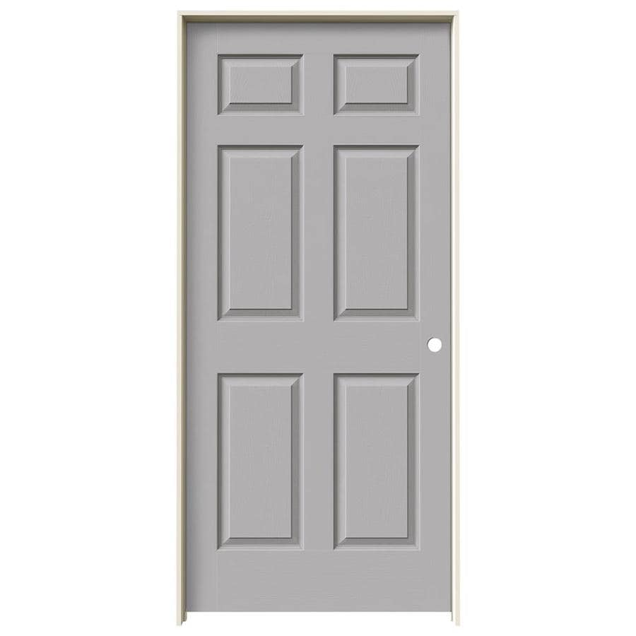 JELD-WEN Driftwood Prehung Solid Core 6-Panel Interior Door (Actual: 81.688-in x 37.562-in)