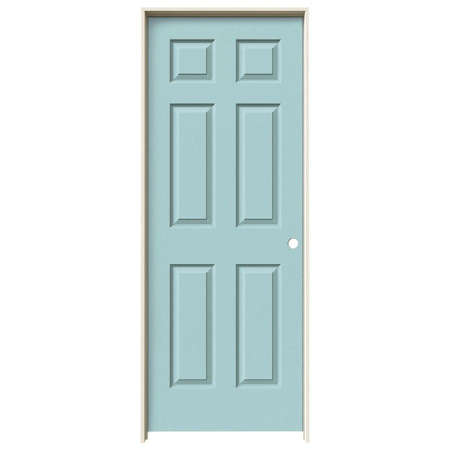 JELD-WEN Sea Mist Prehung Solid Core 6-Panel Interior Door (Actual: 81.688-in x 29.562-in)