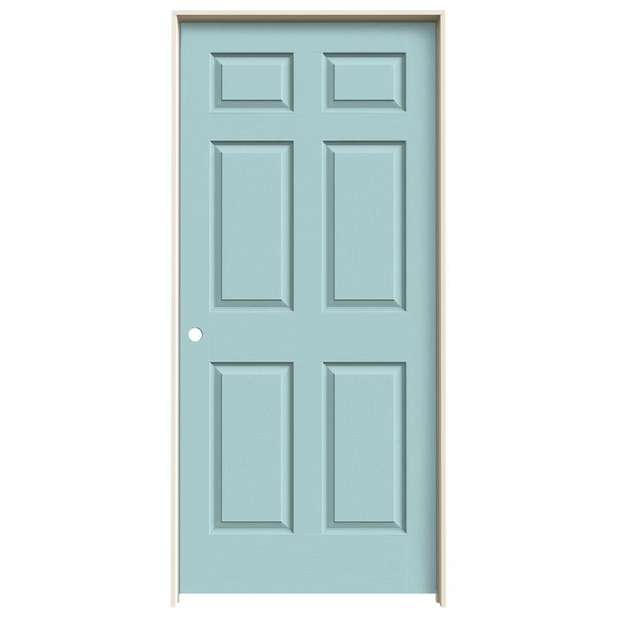 JELD-WEN Sea Mist Prehung Solid Core 6-Panel Interior Door (Actual: 81.688-in x 37.562-in)