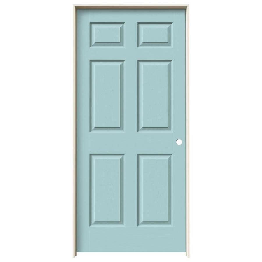 JELD-WEN Sea Mist Prehung Solid Core 6-Panel Interior Door (Actual: 81.688-in x 37.562-in)