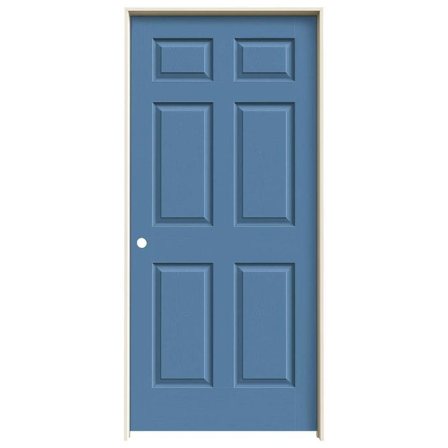JELD-WEN Blue Heron Prehung Solid Core 6-Panel Interior Door (Actual: 81.688-in x 37.562-in)