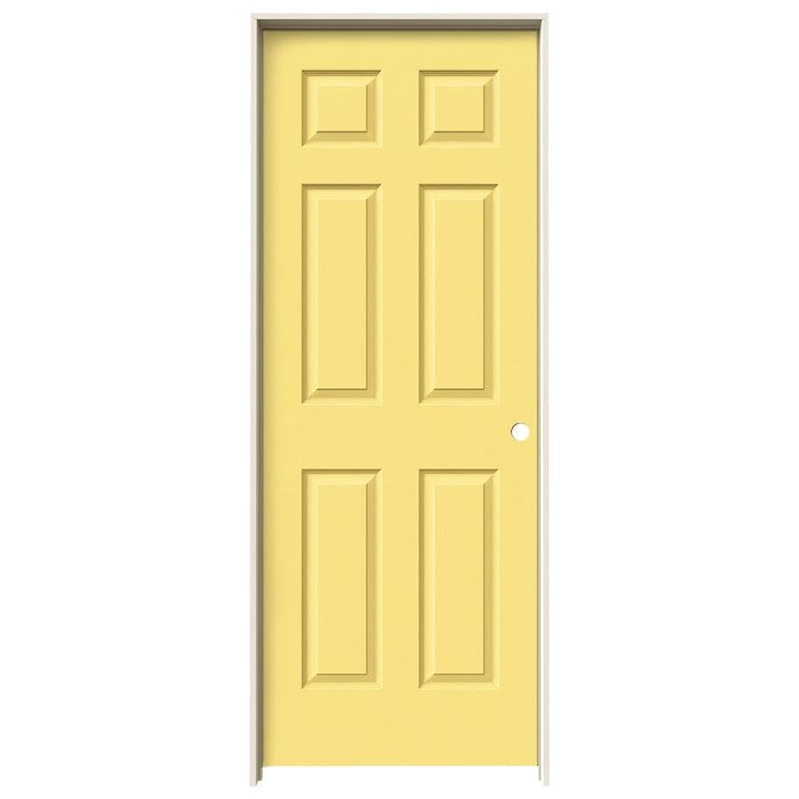 JELD-WEN Marigold Prehung Solid Core 6-Panel Interior Door (Actual: 81.688-in x 25.562-in)