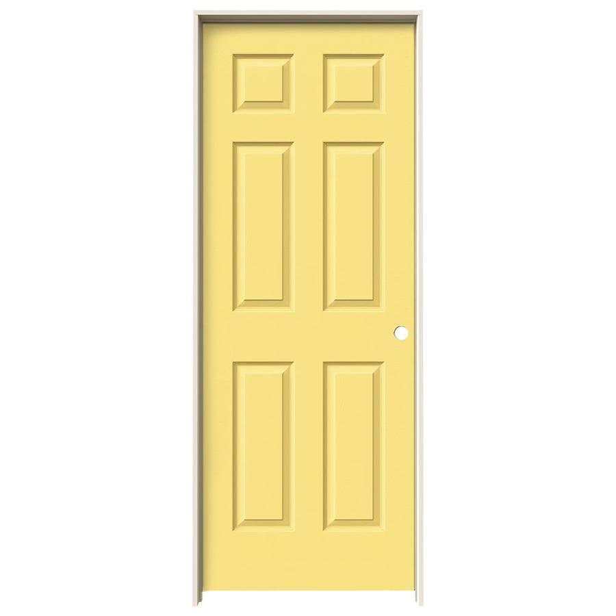 JELD-WEN Marigold Prehung Solid Core 6-Panel Interior Door (Actual: 81.688-in x 33.562-in)