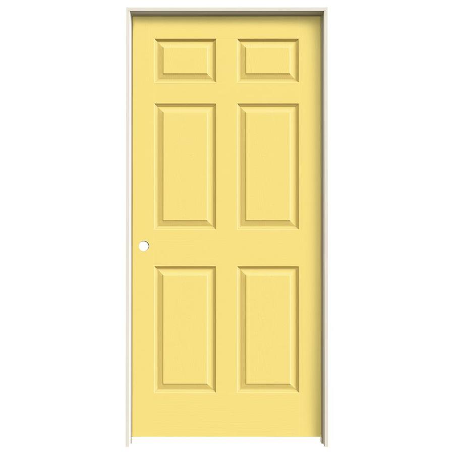 JELD-WEN Marigold Prehung Solid Core 6-Panel Interior Door (Actual: 81.688-in x 37.562-in)